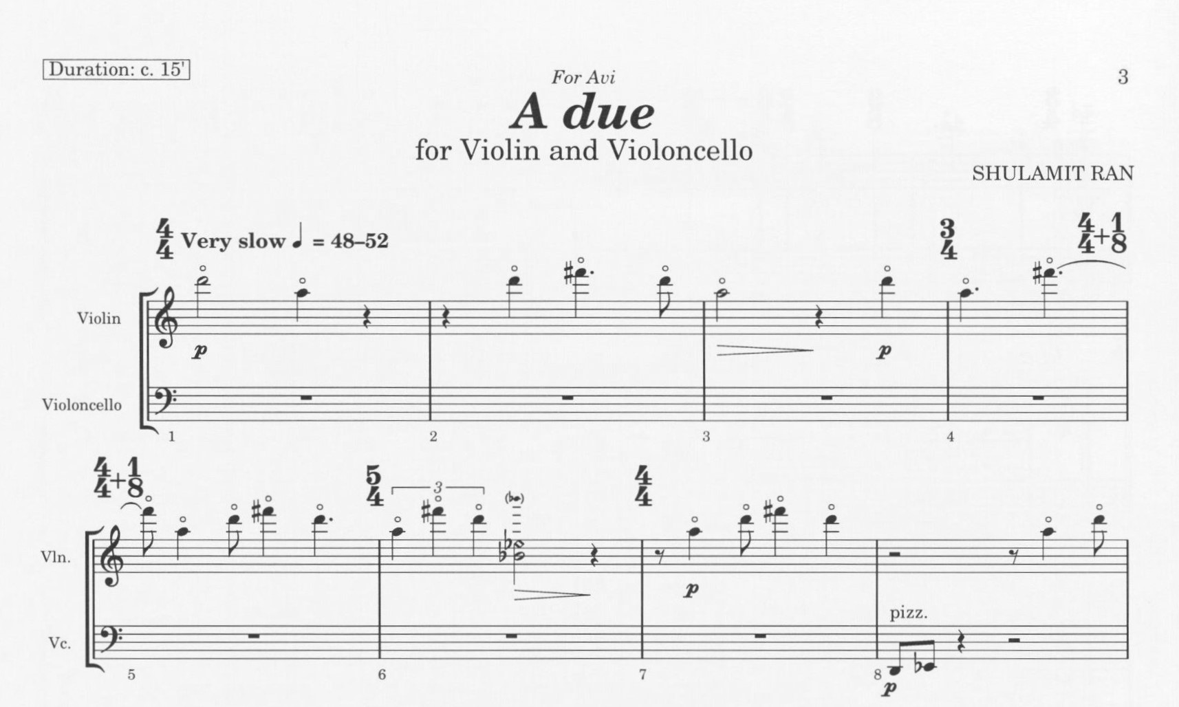 First page of A Due for Violin and Violoncello