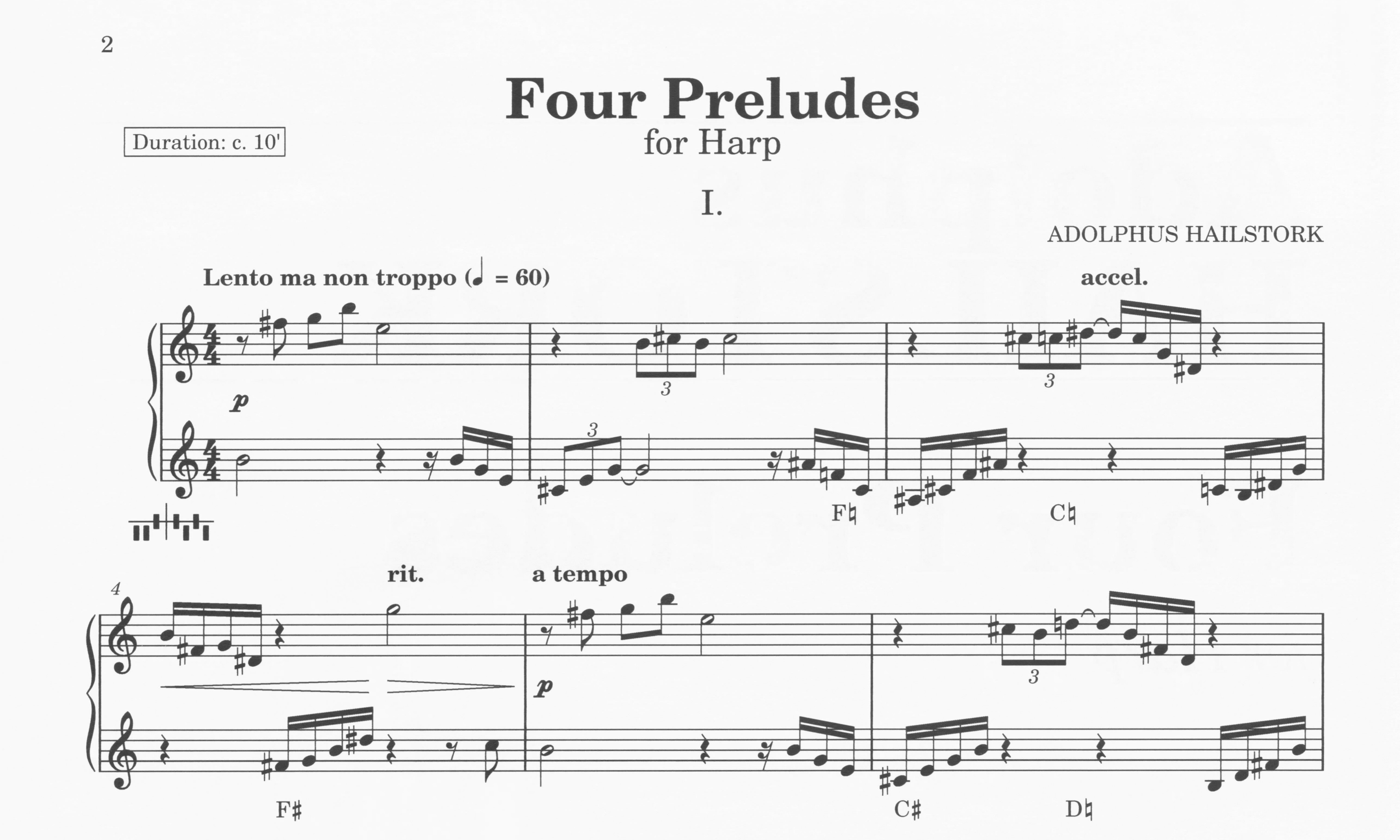 First page of Four Preludes for Harp
