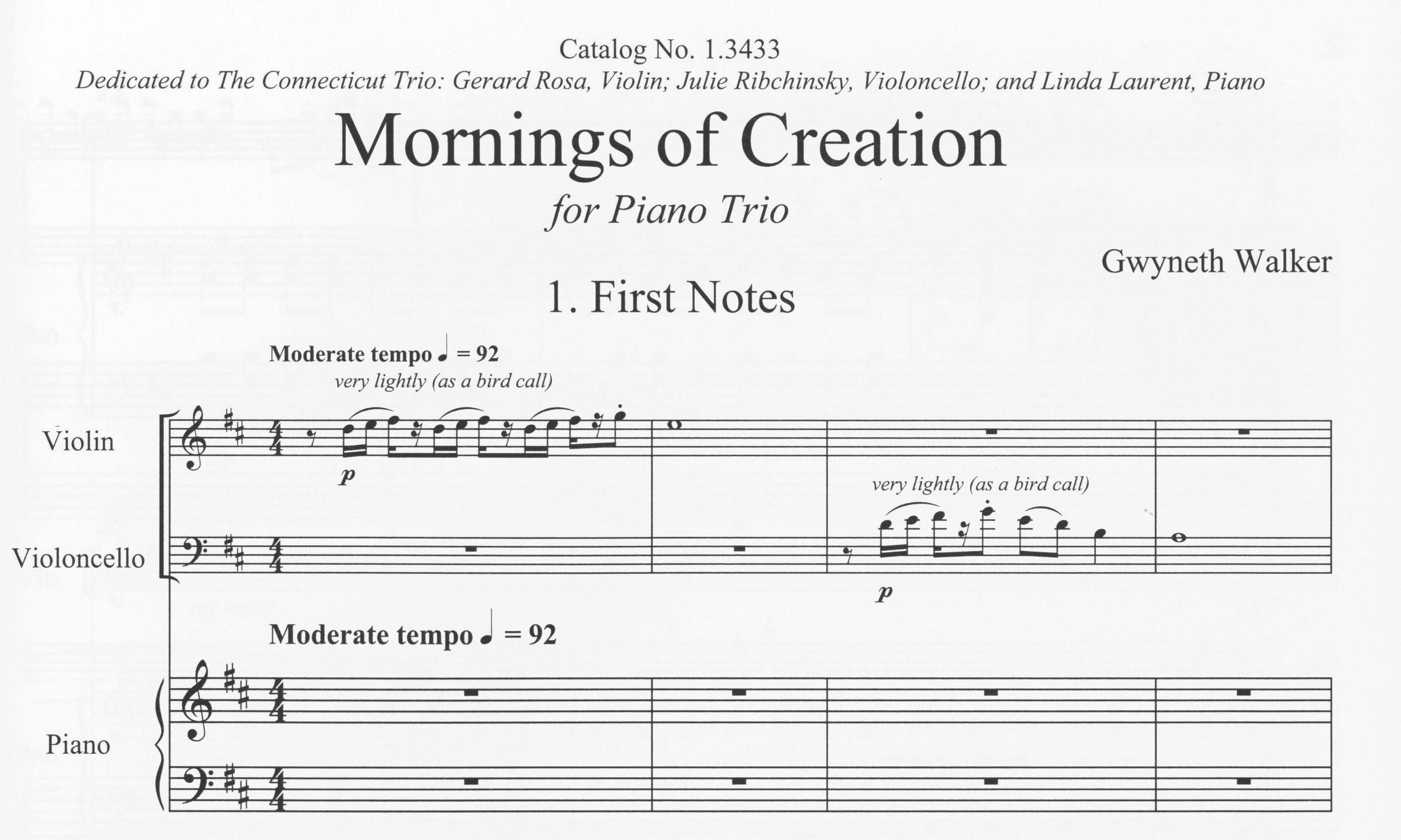 First page of Mornings of Creation